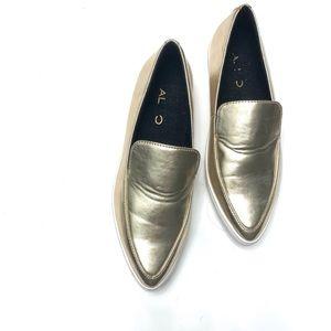 Aldo Metallic Pointed Toe White Rubber Sole Shoes